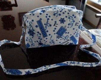 "Upcycled Hebrew Fabric Handbag 9"" x 7"" x 2"""
