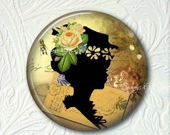 Victorian Floral Girl Silhouette Pocket Mirror, Choose your Favorite from the 4 Prints,  Buy 3 Mirrors Get 1 Mirror Free  522MS