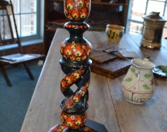 SALE Lacoona Antique/vintage Kashmiri Indian lamp hand painted papier mache