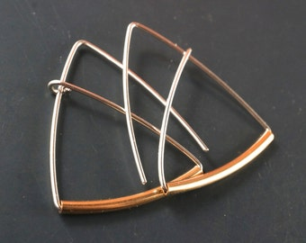 TRIANGLE  Hoop / Triangle Earrings / Sterling Silver Gold Earrings /   Geometric Earrings  / Contemporary /  Nickel Free Earrings  No.00E157