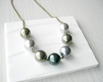 Pearl Statement Jewelry - Metallic Necklace, Gold Tone, Grey, Silver, Tahitian, Bronze, Long, Antiqued Brass Funky, Unusual, June Birthstone