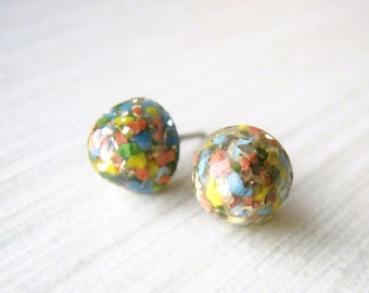 Small Stud Earrings - Multicolor, Multi Color, Gold Glitter Posts, Titanium Jewelry, Nickel Free, Blue, Red, Yellow, Small, Confetti, Dainty