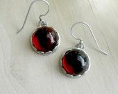 Small Earrings Red Cabochon Earrings Red Earrings Petite Earrings Victorian Earrings Glass Cameo Earrings Victorian Jewelry
