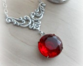 Red Necklace Garnet Crystal Pendant Sterling Silver Swarovski Necklace January Birthday Birthstone Garnet Jewelry Valentines Gift