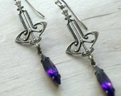 Art Deco Earrings Vintage Dangle Bridal Gift for Bridesmaids Brass Lavender Jewelry