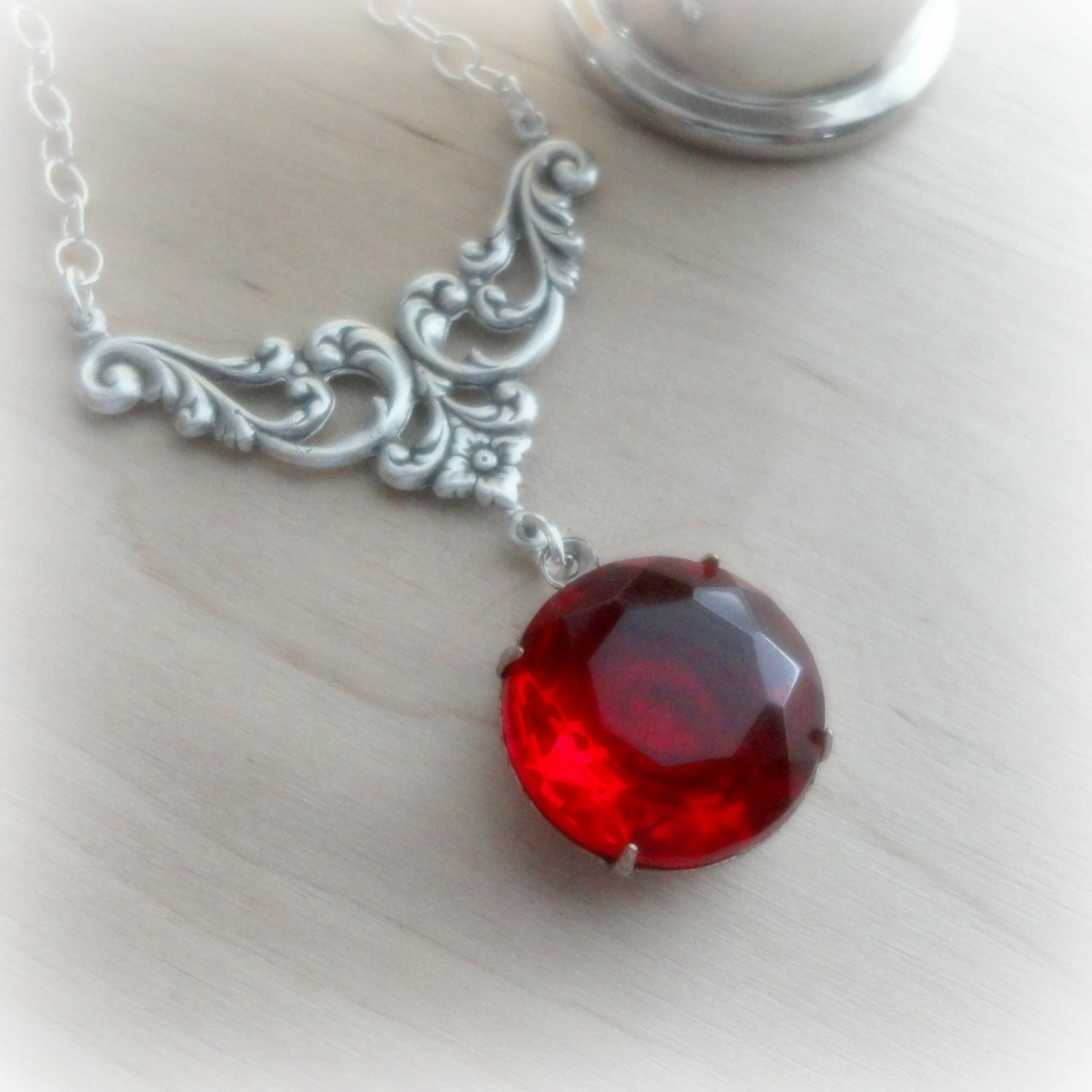 necklace garnet pendant sterling silver by
