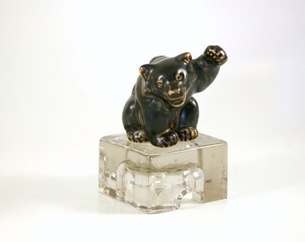 Royal Copenhagen Brown Bear Cub and Iceberg by Knud Kyhn