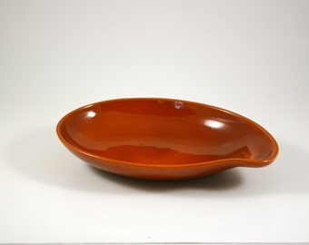 Red Wing Town and Country Comma Serving Bowl in Rust by Eva Zeisel