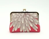 Raspberry Chrysanthemum  silk lined floral clutch, Bag Noir, Bridesmaid clutch, Weddings bride formal clutch purse