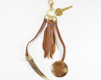 Handmade Tan Brown Leather Tassel & Antler Horn Keychain Bag Charm.