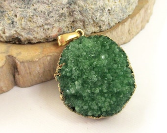 Druzy Pendant, Green Emerald Round Drusy Pendant, Druzy Dipped in Gold Pendant, Druzy Crystal Agate Necklace, Select With/Without Chain