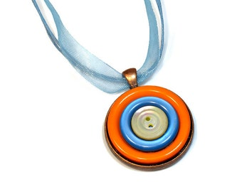 Orange Blue Repurposed Jewelry, Button Pendant Necklace,  Upcycled