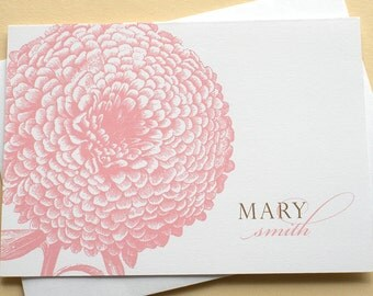 Personalized Note Cards With a Big Pink Flower - Folded Cards