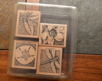STAMPIN' UP RUBBER Stamps set-Nature's Wonders-set of 4 scrapbooking craft stamps