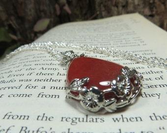 Carnelian Flower Tear Drop Pendant, Gemstone Necklace, Red Gemstone Pendant, Crystal Energy,
