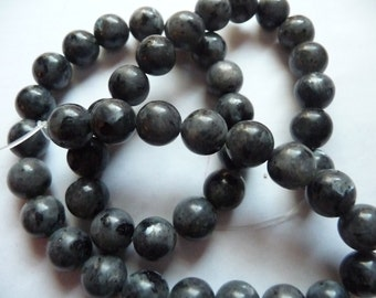 Beads, Black Labradorite, Gemstone, 10mm, Round, Iridescence, Mohs hardness 6 to 6-1/2, Pkg Of 10