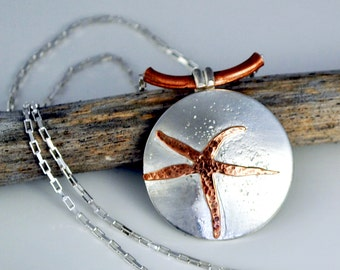 Sterling Silver And Copper Starfish Necklace, Nautical Jewelry, JewelryByNaomi, Mixed Metal, Sea Star Jewelry, Ocean Jewelry, Jewelry Gift