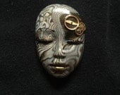 Steampunk Goddess Face Cabochon Patterned Polymer Face Cab Beading Focal Doll Face