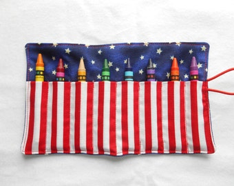 Stars and stripes crayon roll ups 8 count