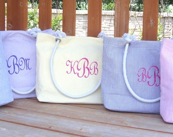 Monogram Bridesmaid Gift - Seersucker Tote Personalized for **SALE**, Chevron Beach Tote Bags, in Nine Colors