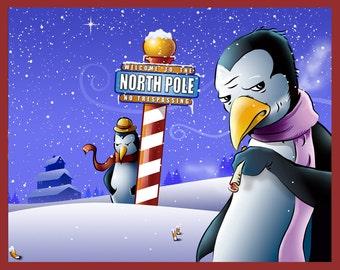 SANTA Christmas Penguins Holiday Funny 8x10 Print
