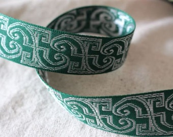 GREEN and SILVER Insight jacquard woven ribbon