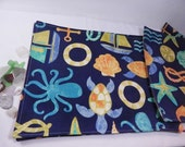 Nautical Placemats, Indoor Outdoor Mats, Navy Blue Nautical, Anchors, Octopus, Made in Maine USA