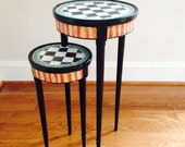 Very small hand painted one of a kind side table