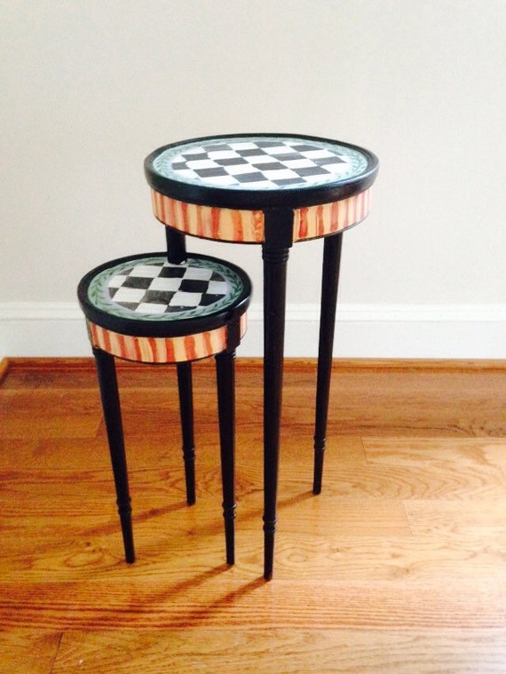 Very small hand painted one of a kind side table for Very small side table