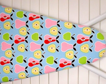 Ironing Board Cover - Standard Size - Apples and Pears in Pink, Red, Lime Green and Lemon Yellow on Blue background