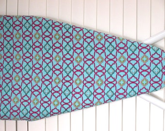Standard Ironing Board Cover in Turquoise Hot Pink and white - laundry room decor