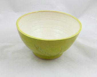 Chartreuse Serving Bowl Wheat Design Handmade Pottery by Daisy Friesen