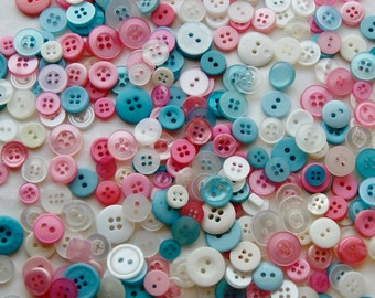 300 Pink Blue White SMALL Button Mix, Perfect Baby Mix  assorted sizes, Sewing, Grab Bag, Craft Button, Jewelry, Collect (1461 c)
