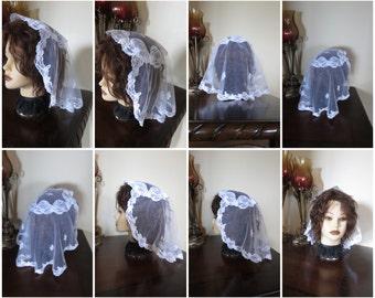 Medium size - White lace - Princess Style Prayer Mass Headcovering - Church or Chapel  veil mantilla scarf NEW