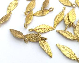 10 Raw Brass Leaf Charms 20x7 mm G3397