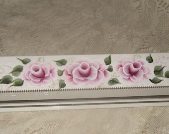 Foil & Plastic Wrap Dispenser  Hand Painted Victorian Cottage Chic Pink Rose Plastic