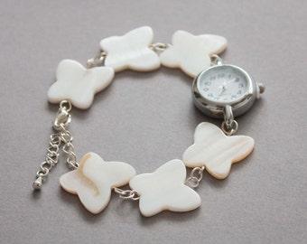 Mother of pearl butterfly watch bracelet, womens wrist watch, beaded bracelet watch