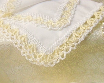 Personalized Handkerchief, Monogrammed, Embroidered, Hanky, Hankie, Hand Crochet, Lace, Lacy, Champagne, White, Ladies, Bridesmaids