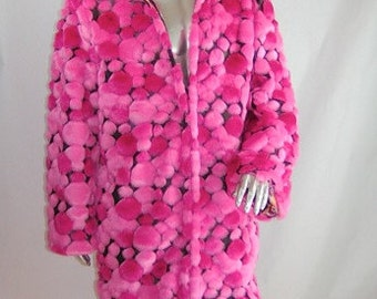 Light Up Coat  REVERSIBLE  Pink  burnt out bubble faux fur and a satin mandala print interior  80 white LEDs  Limited Edition
