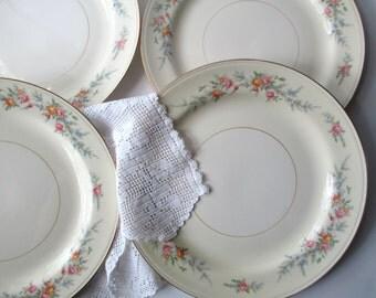 Vintage Dinner Plates Homer Laughlin Ferndale Pastel Floral Set of Four