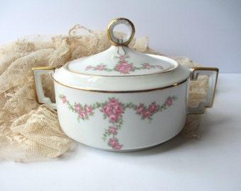 Antique Heinrich Imperial Bavarian Pink Rose Sugar Bowl
