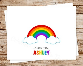 rainbow note cards, notecards - set of 8 - folded personalized stationery, stationary - over the rainbow - thank you cards - blank cards