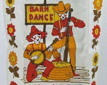 Vintage Retro Pure Linen Parisian Prints Kitchen Tea Towel Barn Dance Sunflowers Pattern Country Glamping Paper Label ATCTTEAM