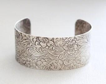 Silver Floral Cuff Bracelet