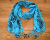 long cotton scarf, turquoise blue, stamped