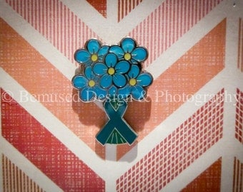 Sale - Lot of 10 Forget-Me-Not Teal Ribbon Ovarian Cancer Lapel Pins
