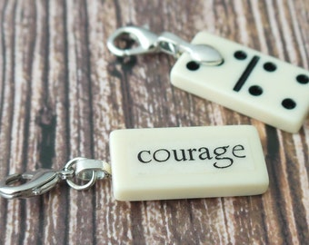 COURAGE Charm Mini Domino Clip-on Pendant by Kristin Victoria Designs gift for cancer survivor sister aunt sister-in-law mother godmother