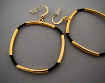 Unique handmade gold-plated earrings - dangle - hoop - black leather - urban chic - gift for her - girlfriend - wife - simple modern design
