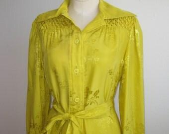 Vintage 60s Malcolm Starr Rizkallah Chartreuse Yellow Chinese Silk Shirt Dress