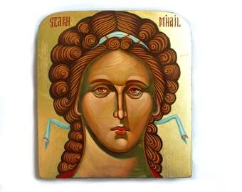 Archangel Michael painting, handpainted orthodox icon on wood,  Byznatine style